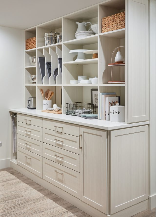 Custom Walk-In Pantry with Counter Space and Drawers from Inspired Closets