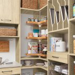 Lazy Susan storage in a custom walk-in pantry