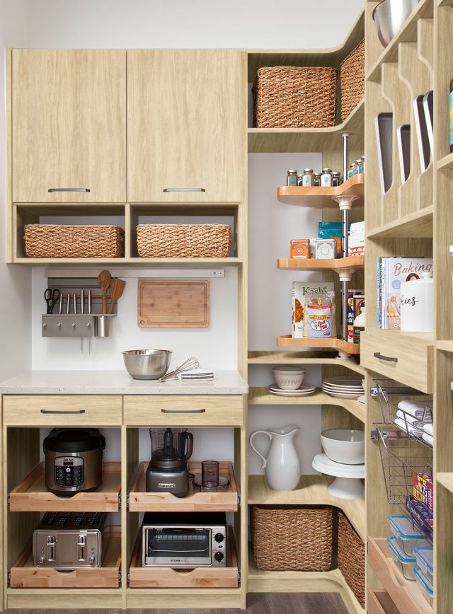 Custom work station in a walk-in pantry from Inspired Closets