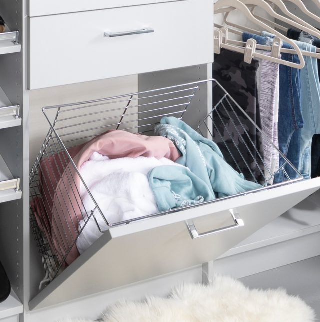 Custom grey closet for teen girls with pull out hamper from Inspired Closets