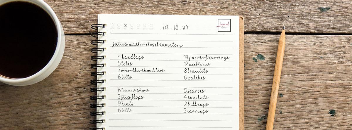 Inventory list of closet items