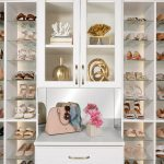 Custom boutique closet in houghton with built-in shelving and adjustable shoe storage