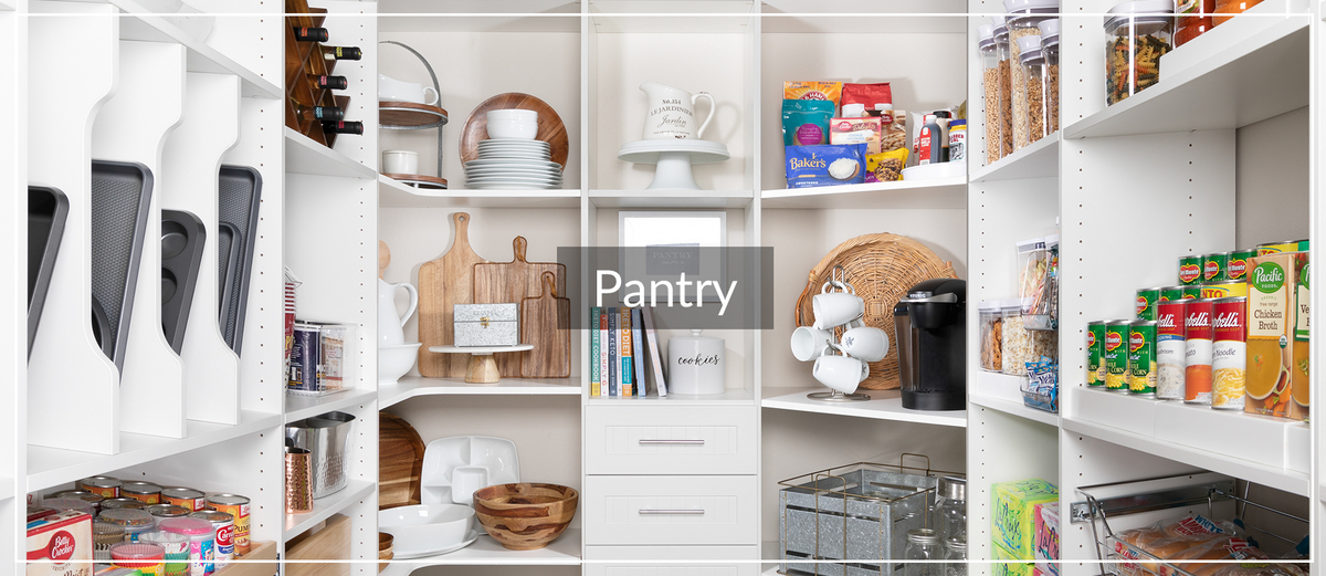 White walk-in pantry with shelves and drawers for Inspired Closets January Article