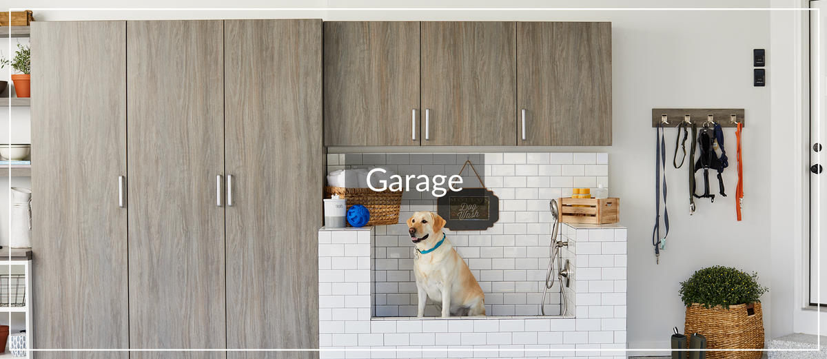 Garage storage cabinets and dog bath for Jan. 2021 Learning Center article