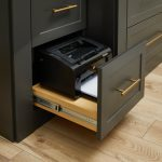 Custom printer storage for home office in charcoal