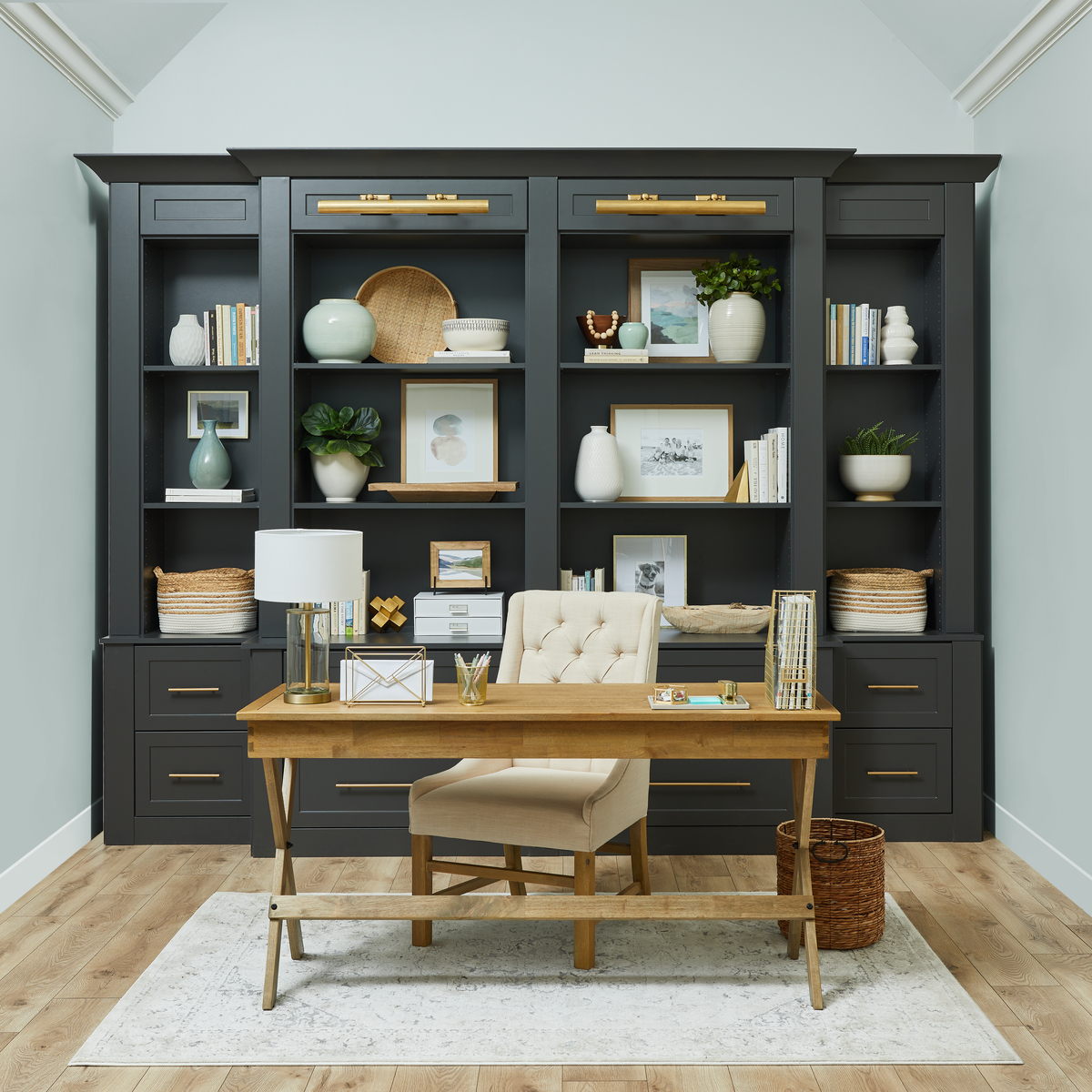Charcoal home office with library shelving