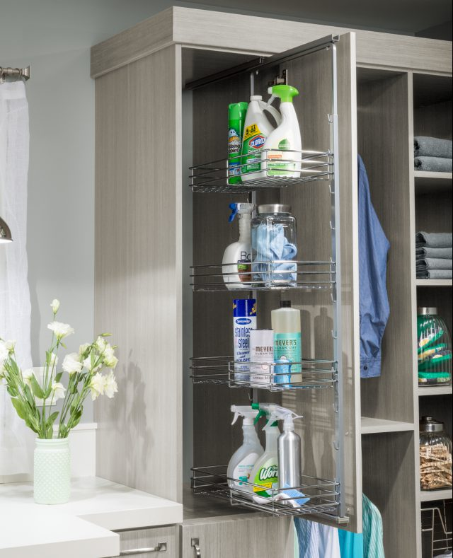 Cleaning closet for easy go-to's in a laundry room from Inspired Closets