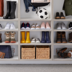 Custom shoe shelves for a garage entryway