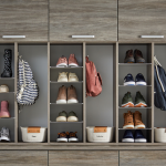 Custom shoe storage for an entryway garage system from Inspired Closets