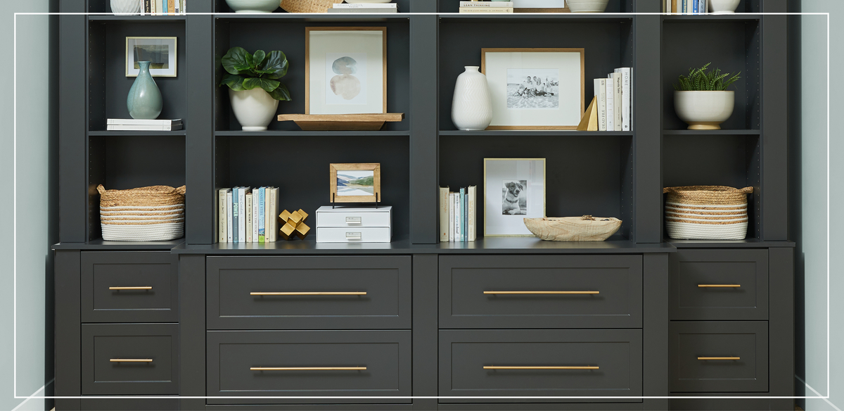 Dark Hues and Brass Accents for Home Office Design
