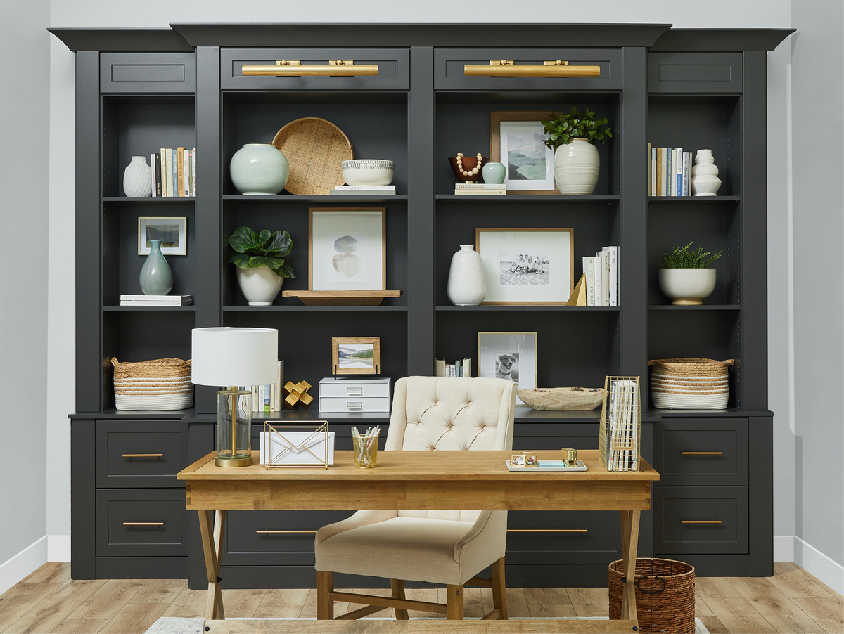 Charcoal home office with chair and desk from Inspired Closets