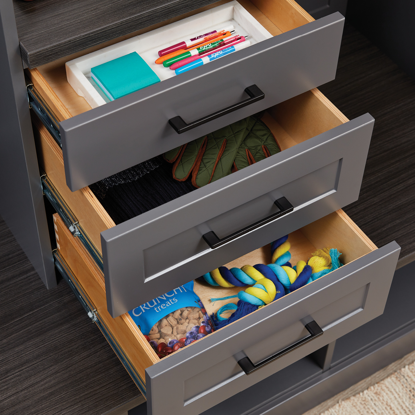 Easy go to drawer storage for custom entryway from Inspired Closets