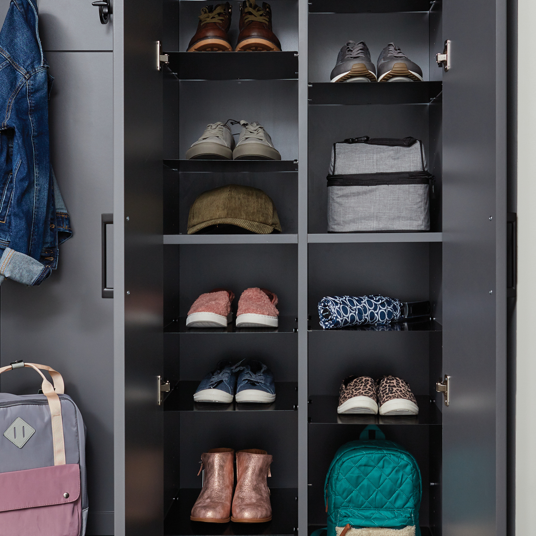 Shoe Shrine® custom shelving in an Inspired Closets entryway