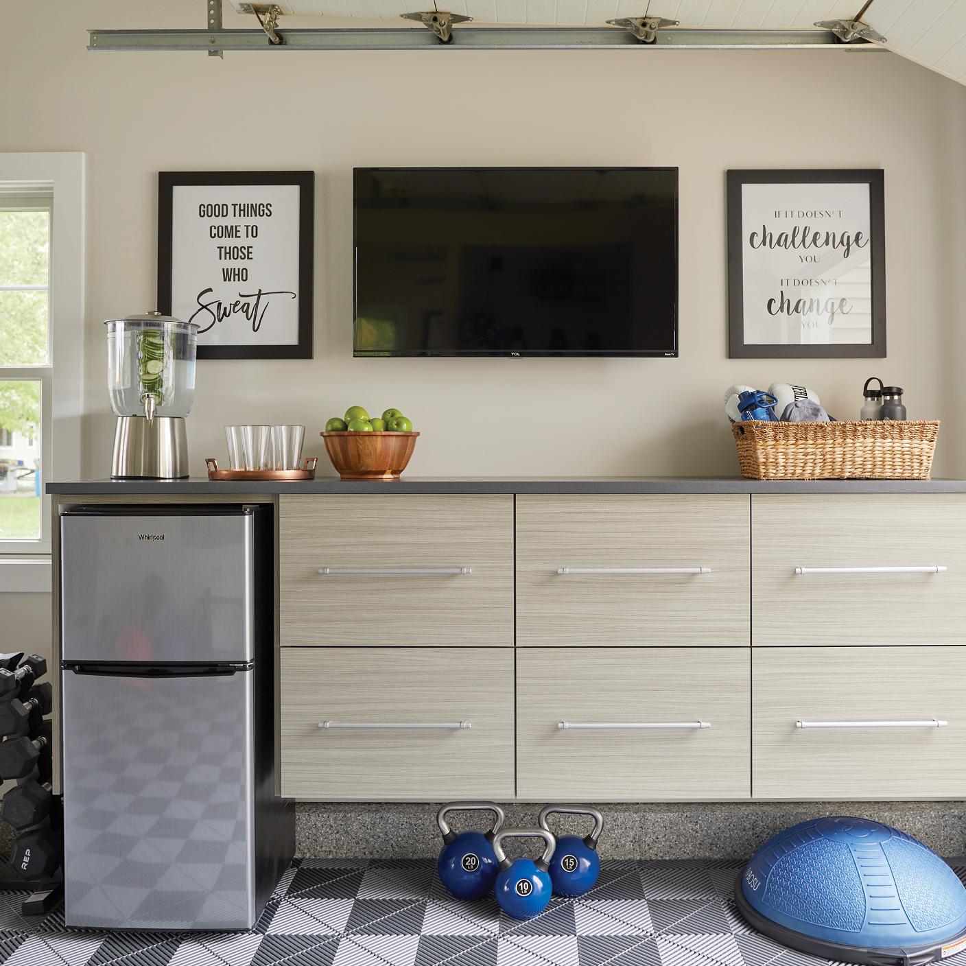 Garage work out stations designed by Inspired Closets