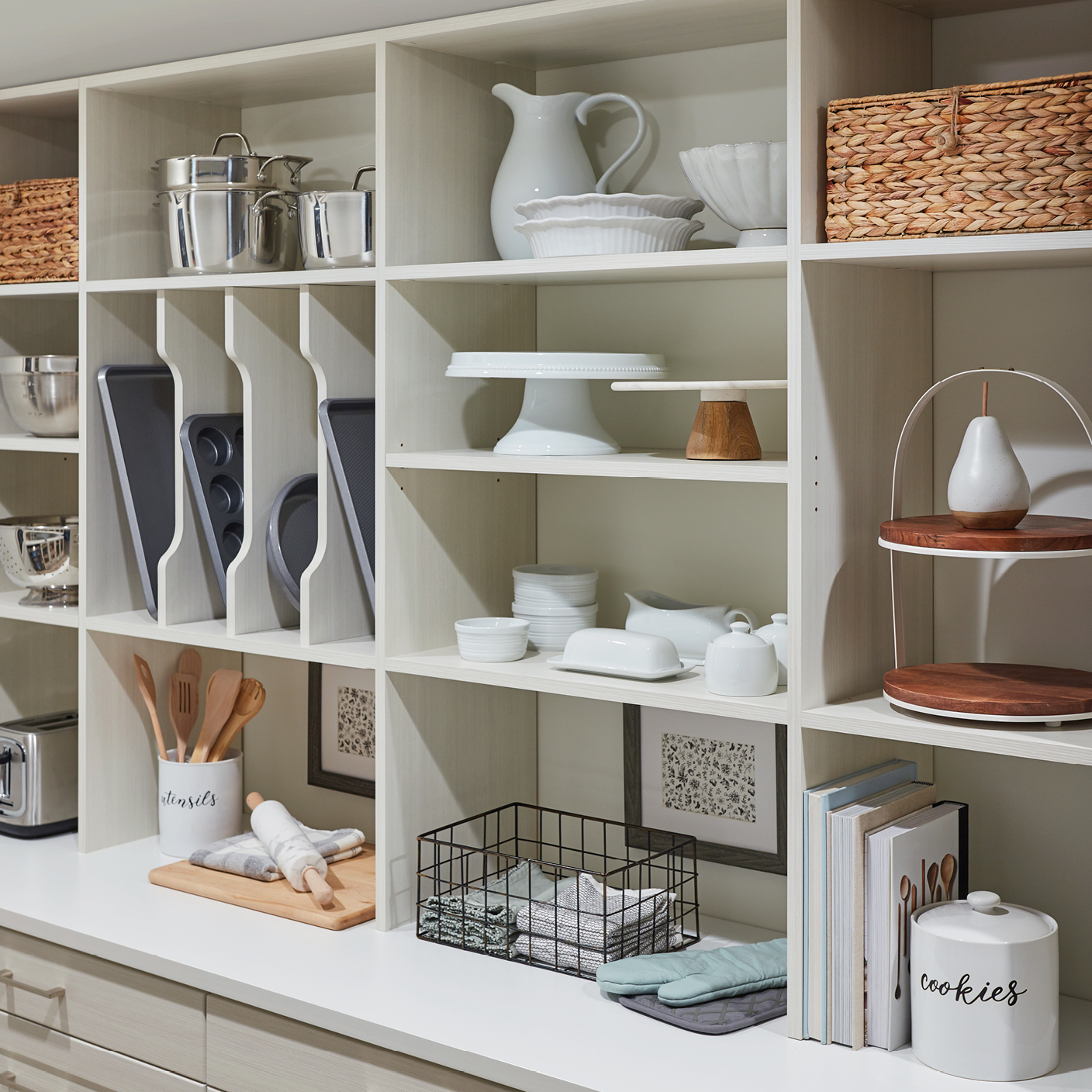 Custom Shelving and sheet pan storage from Inspired Closets