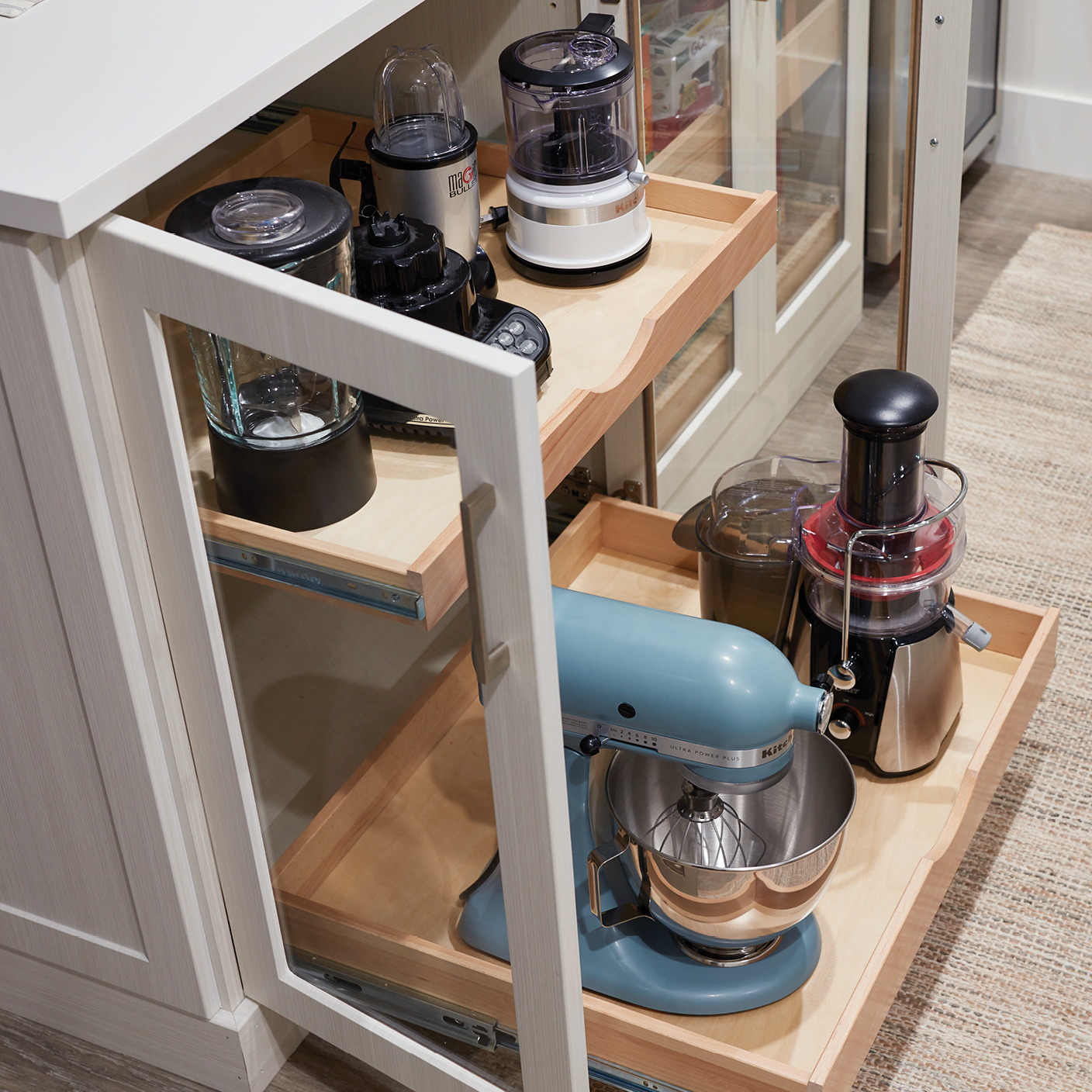 Pull out appliance storage for walk-in pantry from Inspired Closets