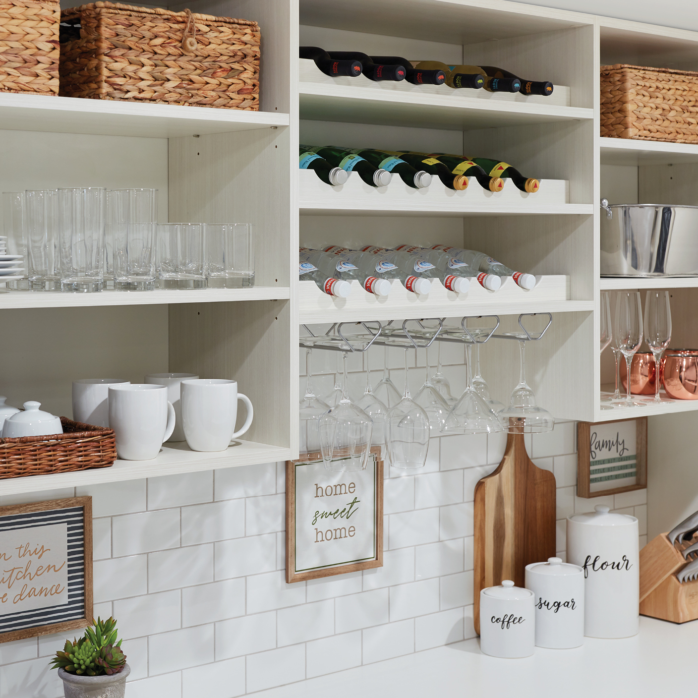 Custom drink stations for a walk-in pantry