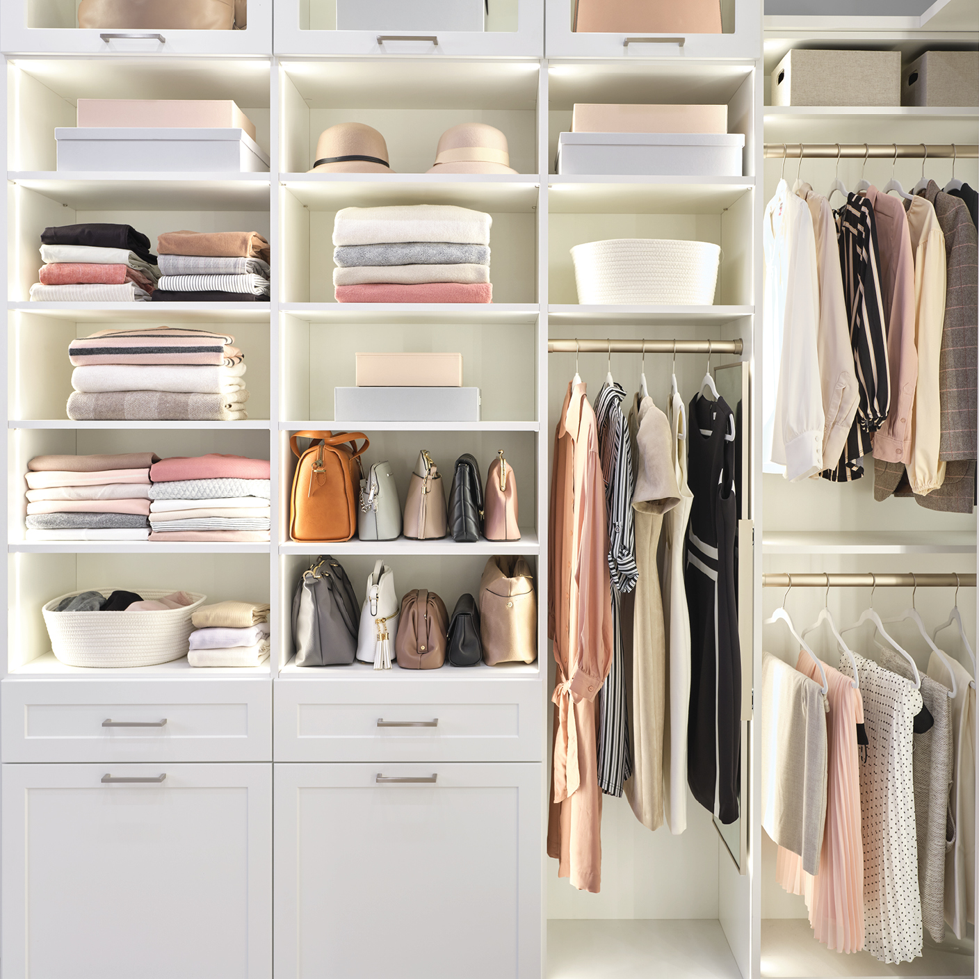 Custom lighting solutions for a boutique closet from Inspired Closets