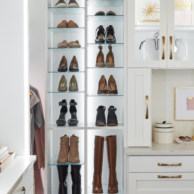 Shoe Shrine® adjustable shelving for storing all your shoes