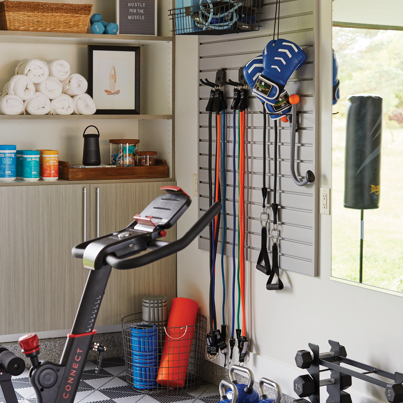 Slat wall store for garage gym