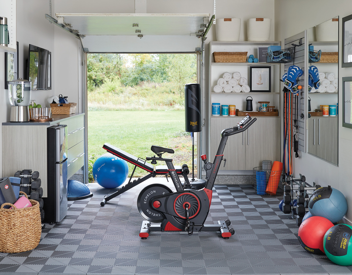 Home gym in your garage designed by Inspired Closets