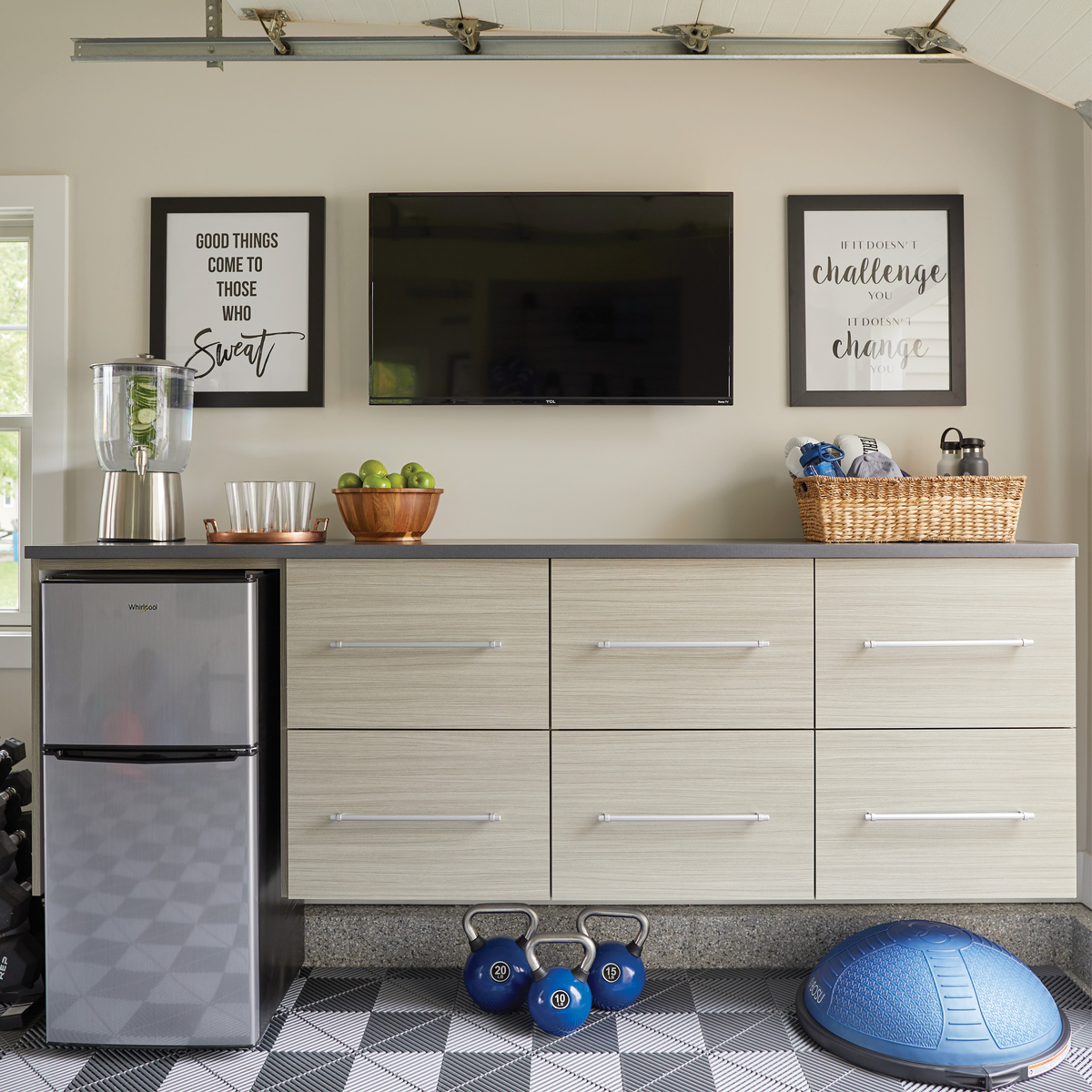 Home gym storage cabinets for your garage from Inspired Closets