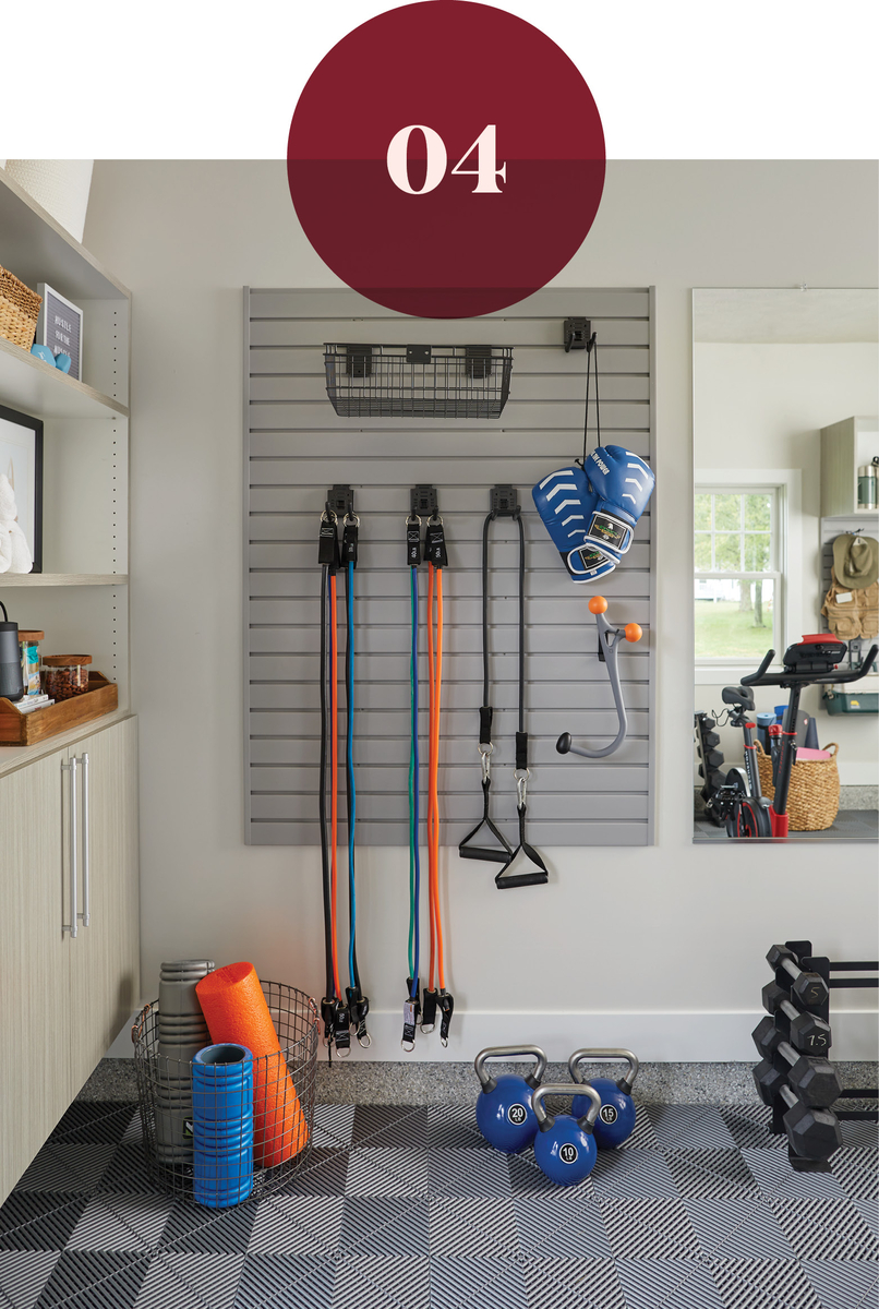 Slatwall storage for home gym from Inspired Closets