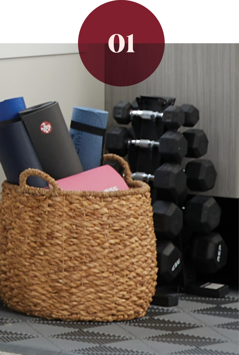 How to store dumb bells for a home gym