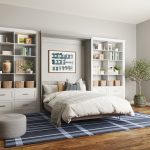 Bonus room with custom white built-in shelves and drawers with open Murphy Bed