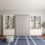 Custom white built-in shelves and drawers for Murphy Bed from Inspired Closets