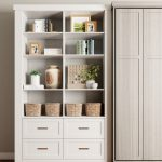 Custom white built-in shelves and drawers for Murphy Bed
