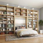 Open custom Murphy Bed with multiple book shelves