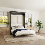 Open charcoal Murphy Bed solutions with and built-in drawers from Inspired Closets
