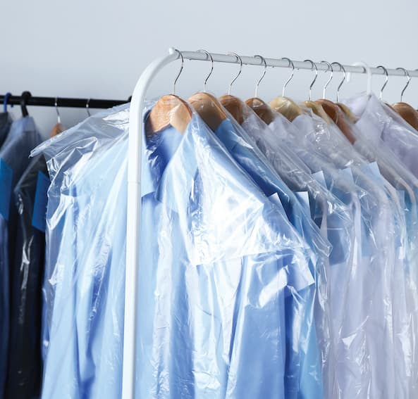 Bundle your hanging cloths with plastic bags