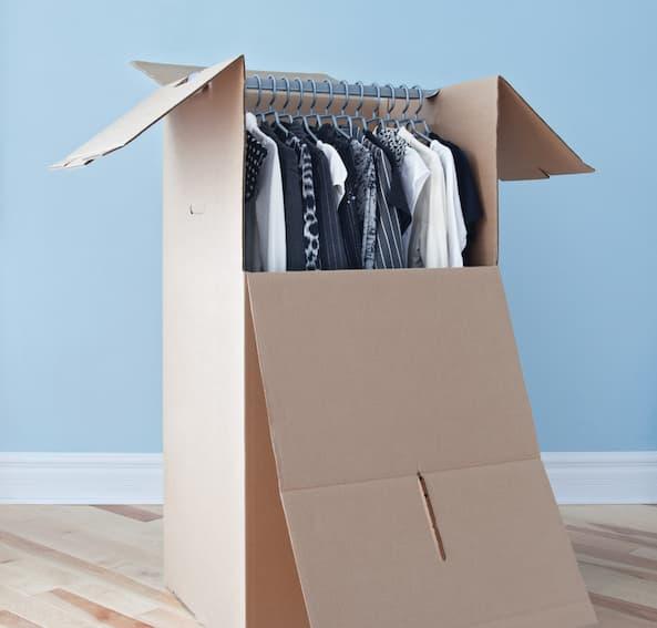 Utilize wardrobe boxes when preparing for a move