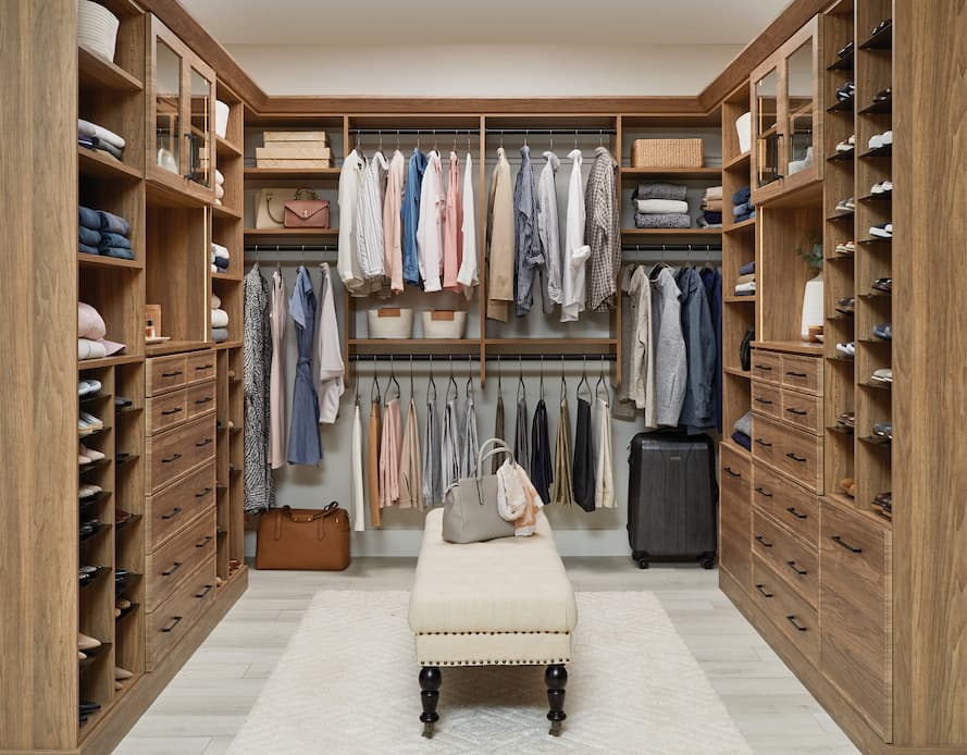 Beautiful walk-in closet in New Natural from Inspired Closets