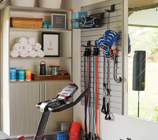 Garage Home Gym with Slatwall