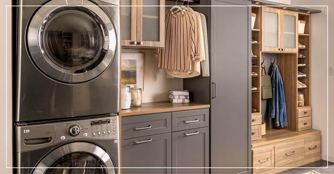 Dual space use for laundry room and entrway