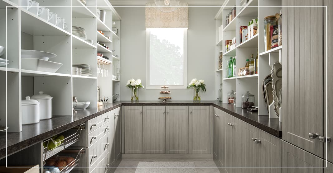 Two toned materials and open shelves for pantry