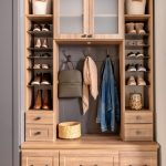 Entryway storage system with lighting, shoe storage and drawers